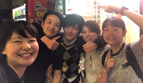 今回一緒に食文化体験に行ったメンバー。左から岸本、栗田、水越、半澤、江口
