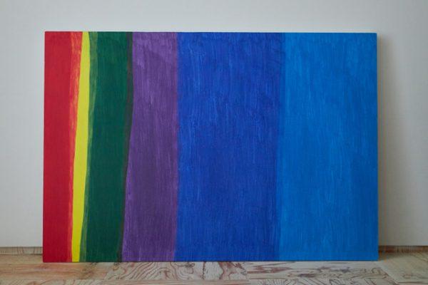 加地英貴さんの作品 色鉛筆で丹念に塗り込められた色彩構成です。